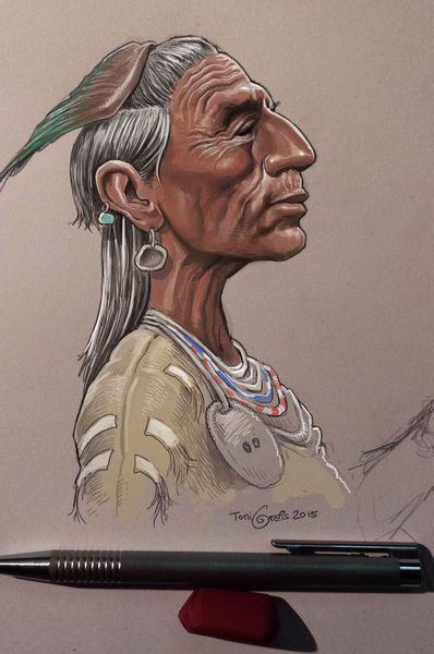 Indianer, Zeichnung, Illustrationen,