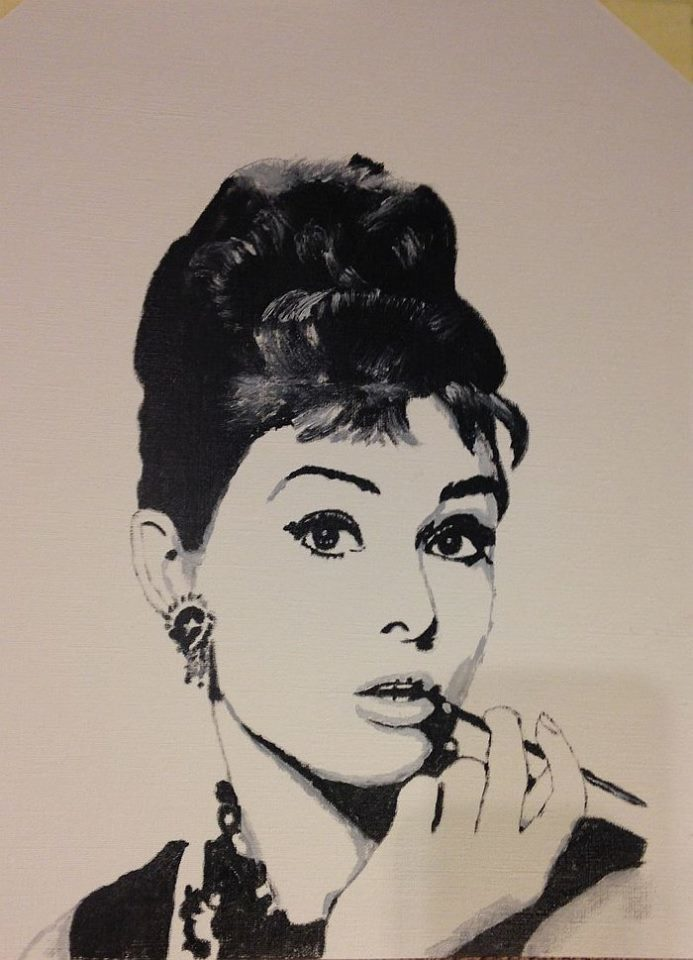 bild audrey hepburn fr hst ck bei tiffany malerei von frankydee bei kunstnet. Black Bedroom Furniture Sets. Home Design Ideas