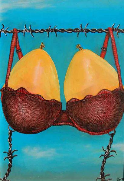 Ehestreit, Gegensatz, Stacheldraht, Luftballon, Malerei