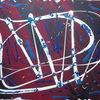 Acrylmalerei, Schwarz weiß, Blau, Bordeaux