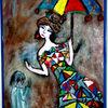 Frau, Kind, Malerei, Menschen