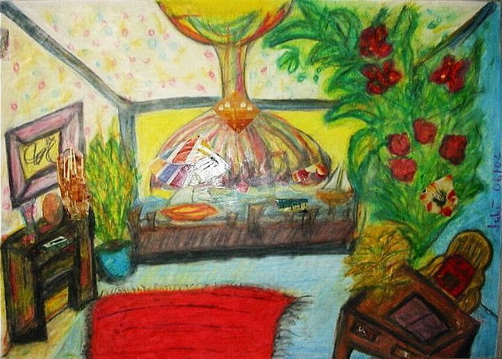 Bunt, Fenster, Zimmer, Collage, Lampe, Ausblick