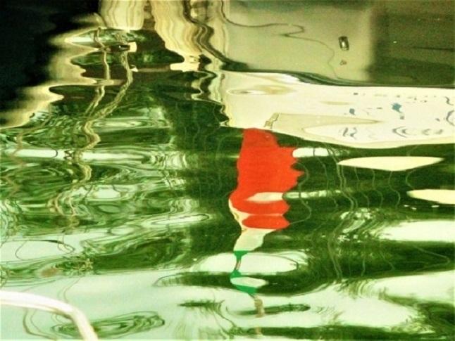 Spiegelung, Maderno, Farbkontraste, Hafen, Formen, Wasser