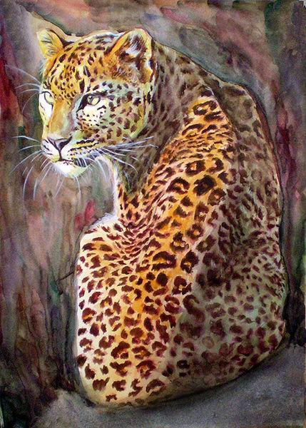 Leopard, Katze, Aquarellmalerei