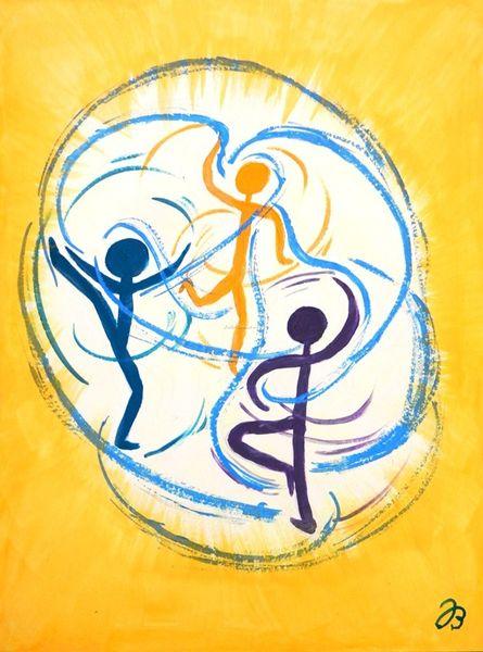 Rücksichtnahme, Acrylmalerei, Tänzer, Einheit, Abstrakt, Dreifaltigkeit