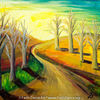 Dämmerung, Baum, Temperamalerei, Landschaft