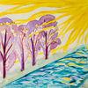 Baum, Aquarellmalerei, Sonnenstrahlen, Aquarell