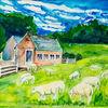 Aquarellmalerei, Niederlande, Schaf, Bauernhof