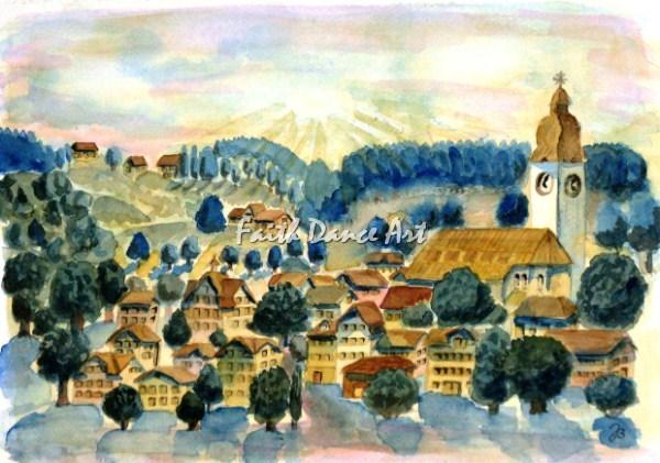 Kirche, Sonne, Dorf, Fachwerk, Malerei, Afrika