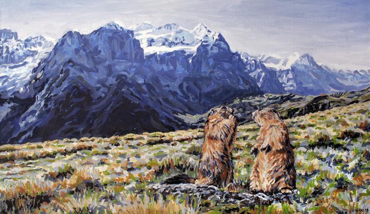 Murmeltier, Berge, Alpen, Tiere, Malerei