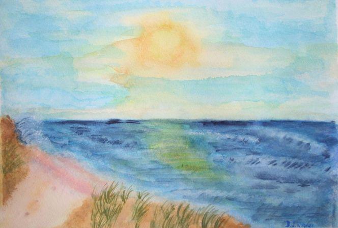 Wasser, Welle, Dünen, Lichtspiel, Sonnenuntergang, Meer
