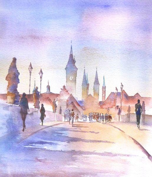 Aquarellmalerei, Unterfranken, Alte mainbrücke, Main, Dom, Rathaus
