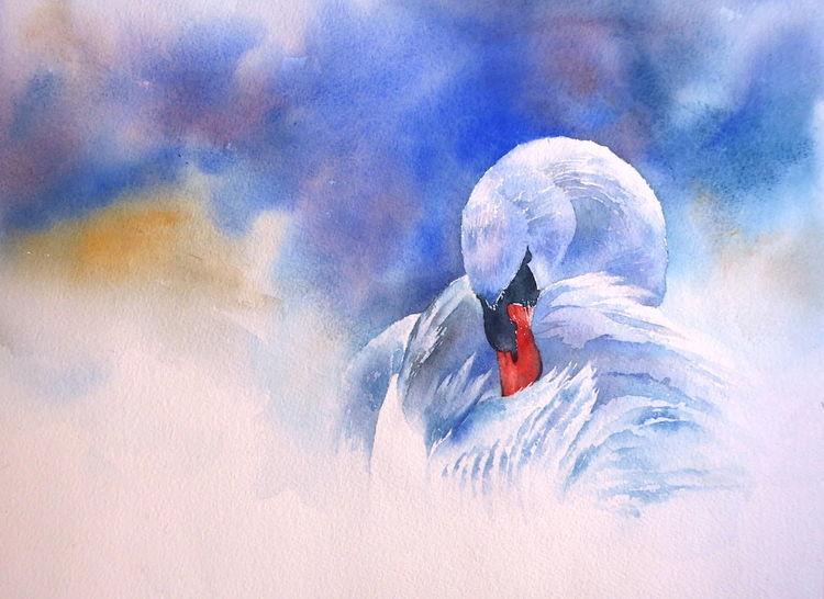 Schwan, Aquarellmalerei, Weihnachten, Nebel, Mist, Geschenk