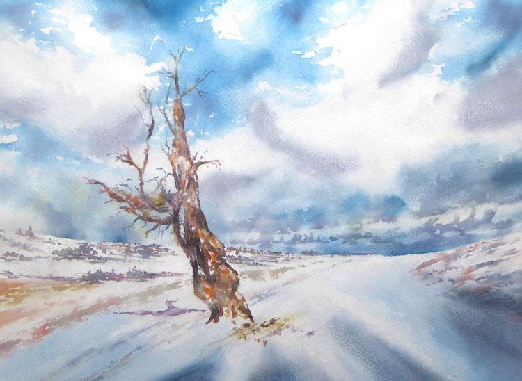 Wetter, Aquarellmalerei, Wolken, Winter, Rhön, Schnee