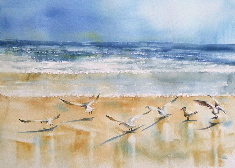 Meer, Vogel, Strand, Aquarellmalerei, Abkehr, Möwe
