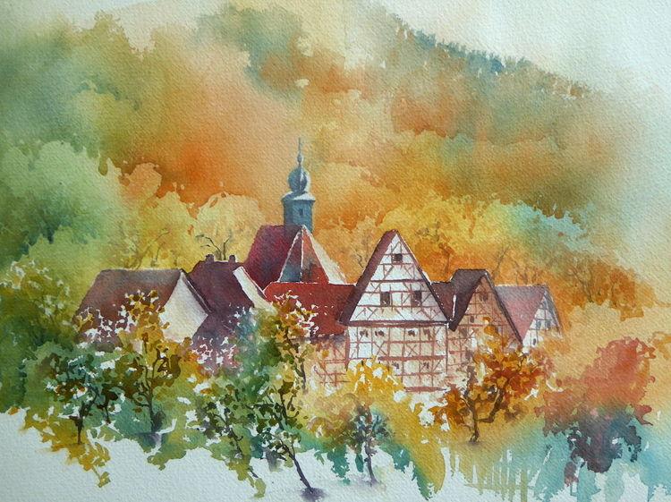 Fladungen, Herbst, Landschaft, Oberfranken, Aquarellmalerei, Rhön