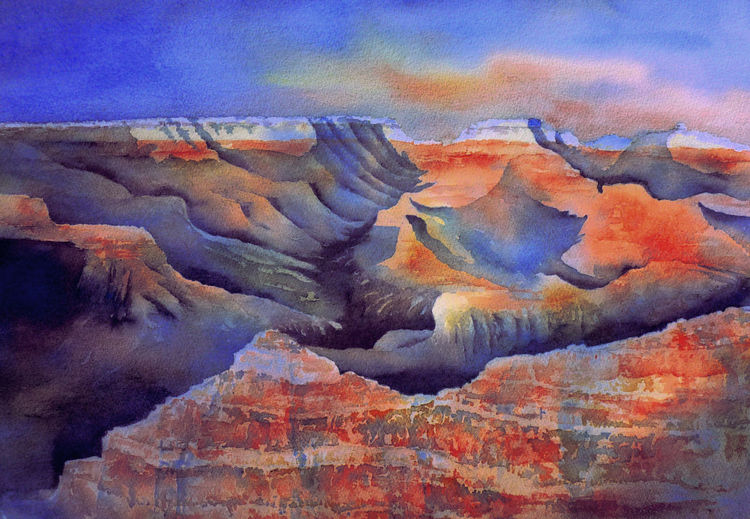 Grand canyon, Usa, Aquarellmalerei, South rim, Nationalpark, Aquarell