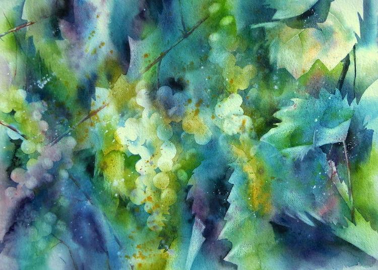 Rebe, Weintrauben, Herbst, Aquarellmalerei, Aquarell, Stillleben