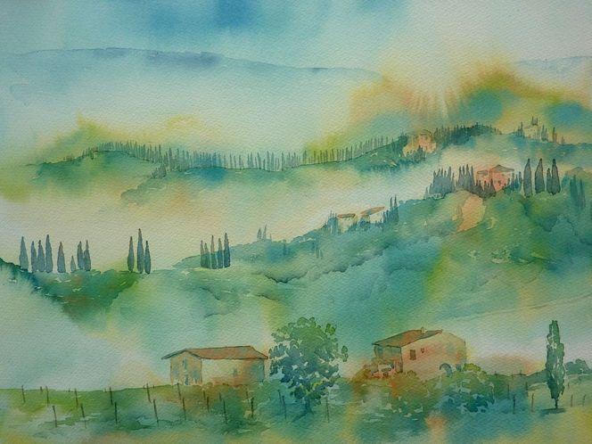 Toskana, Nebel, Aquarellmalerei, Herbst, Aquarell