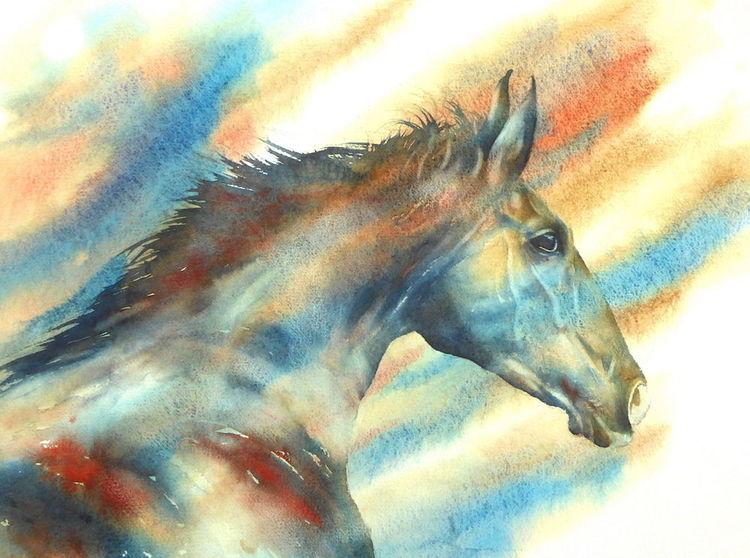 Pferde, Weihnachten, Tiere, Hengst, Aquarellmalerei, Wind watercolor