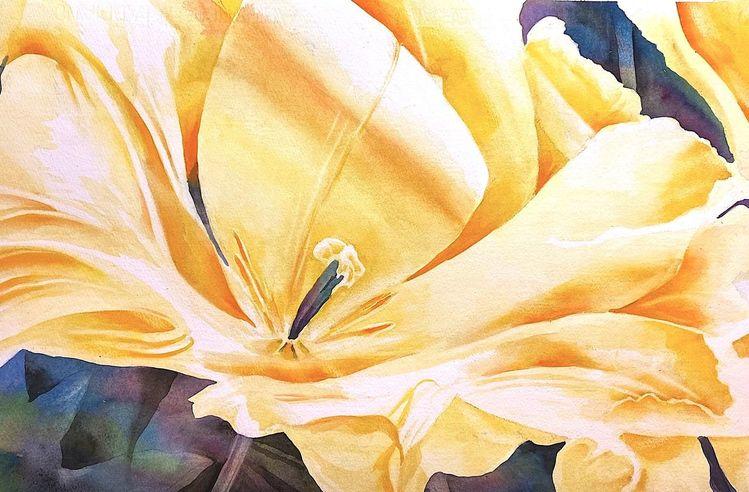 Blumen, Aquarellmalerei, Tulpen, Einladung, Gelb, Aquarell