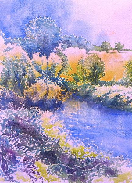 Aquarellmalerei, Landschaft, Baum, Aquarell, Mai