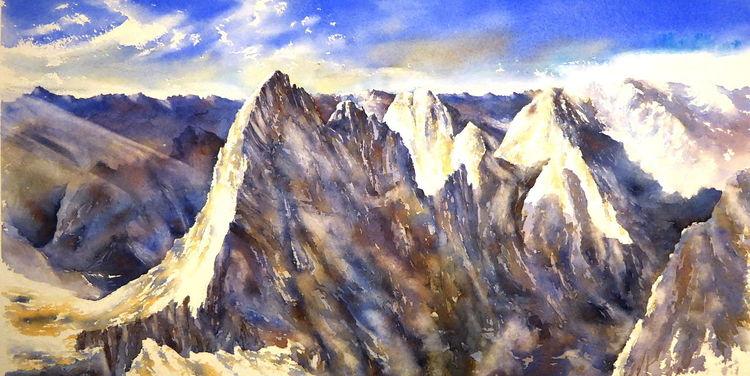 Swiss, Alpen, Aquarellmalerei, Berge, Matterhorn, Schweiz