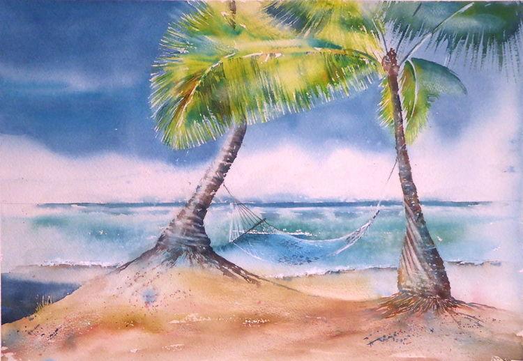 Insel, Aquarellmalerei, Vernetzung, Urlaub, Hängematte, Palmen