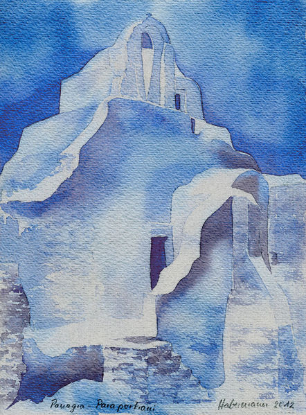 Griechenland, Aquarellmalerei, Kirche, Aquarell