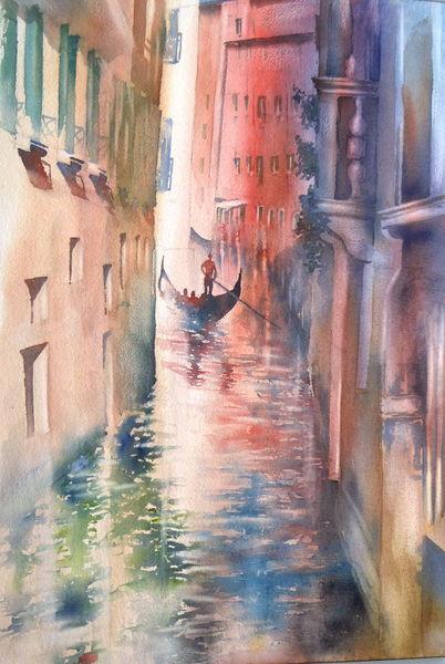 Gondel, Aquarellmalerei, Venedig, Italien, Aquarell, Pink