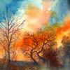 Sonnenuntergang, Aquarellmalerei, Herbst, Baum