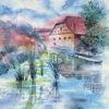 Freilichtmuseum, Aquarellmalerei, Fachwerk, Bad windsheim