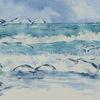 Möwe, Aquarellmalerei, Strand, Abkehr