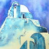 Paraportiani, Aquarellmalerei, Griechenland, Kirche