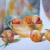 Aquarellmalerei, Stillleben, Pfirsich, Früchte