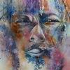 Gesicht, Augen, Aquarellmalerei, Rasta