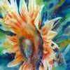 Blumen, Gelb, Sonnenblumen, Aquarellmalerei