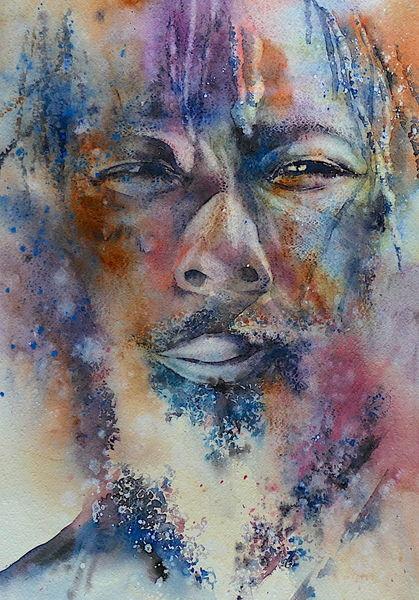 Menschen, Portrait, Augen, Gesicht, Aquarellmalerei, Rasta