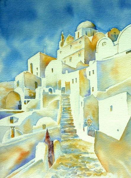 Griechenland, Agios minas, Santorin, Aquarellmalerei, Aquarell