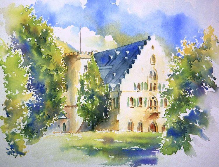 Rödental, Aquarellmalerei, Schloss, Queen victoria, Coburg, Prinz albert