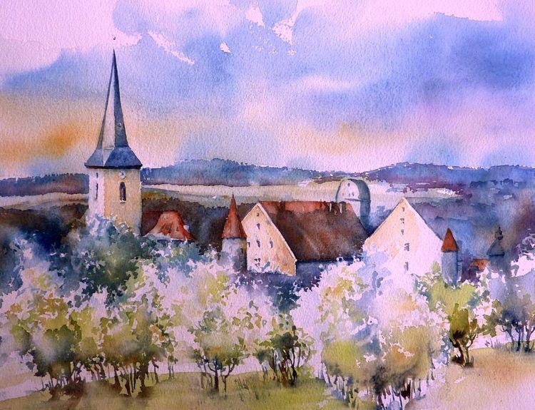 Coburg, Seßlach, Aquarellmalerei, Blüte, Oberfranken, Bayer