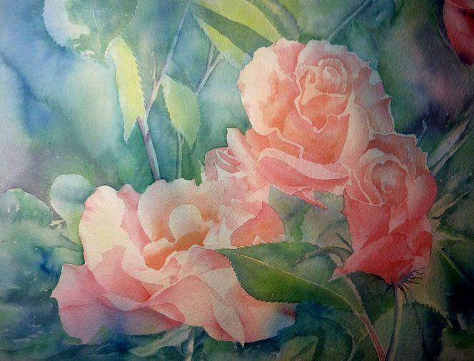 Aquarellmalerei, Rose, Herbst, Blumen, Aquarell, Stillleben