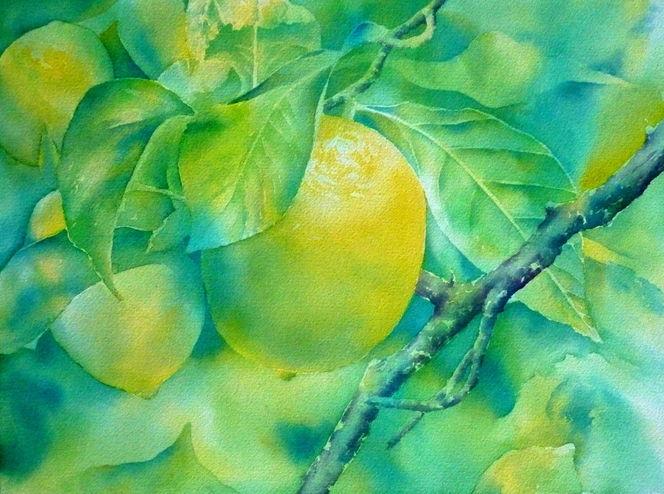 Frisch, Zitrone, Gelb, Aquarellmalerei, Süß fruit, Grün