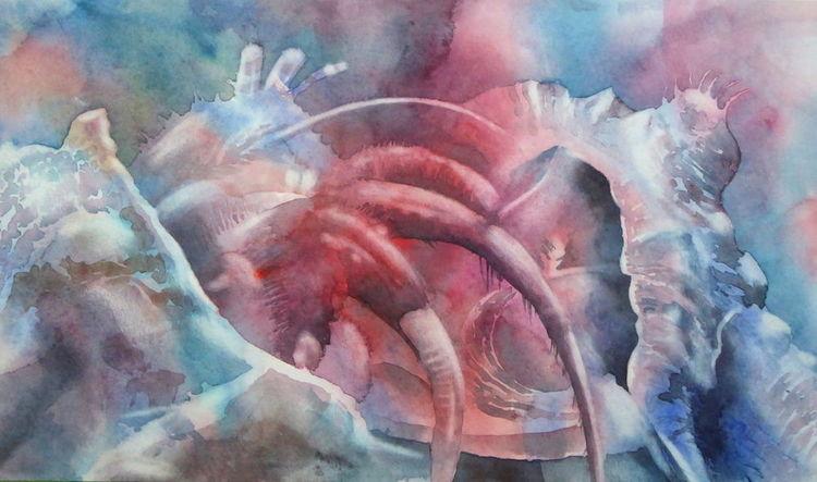 Muschel, Tiere, Einsiedlerkrebs, Wasser, Krebs, Aquarellmalerei
