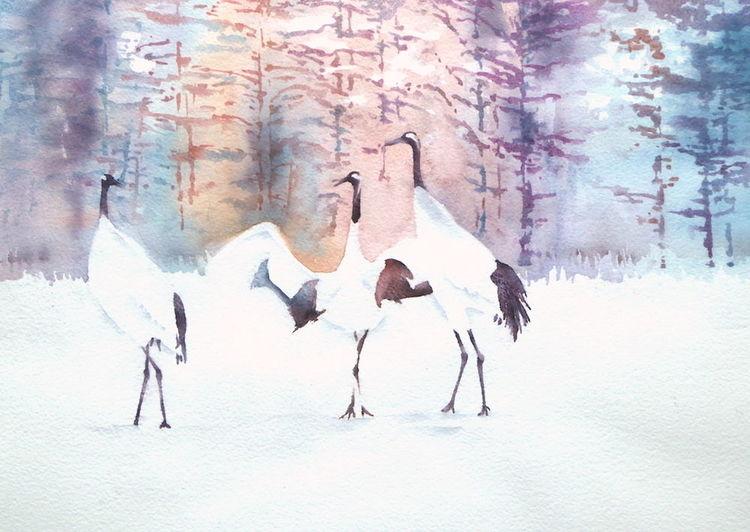 Aquarellmalerei, Kranich, Winter, Tanzende kraniche, Kran, Aquarell