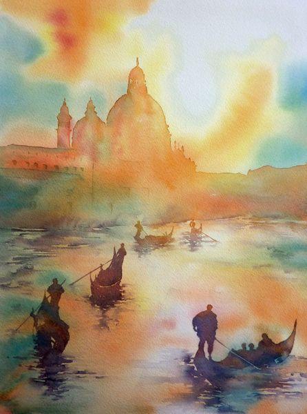 Venedig, Aquarellmalerei, Sonnenuntergang, Gondel, Aquarell, Menschen