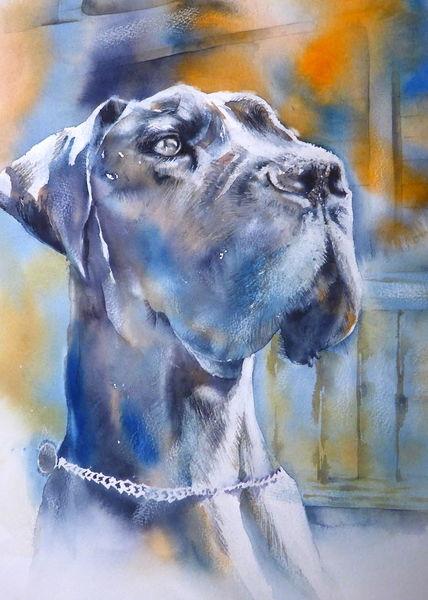 Wächter, Tiere, Aquarellmalerei, Dogge, Hund, Seelenhund