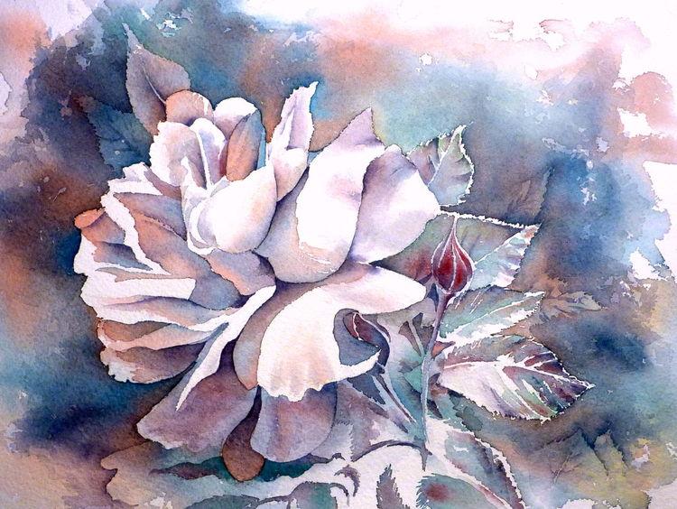 Blumen, Negatives aquarell, Rose, Aquarellmalerei, Aquarell