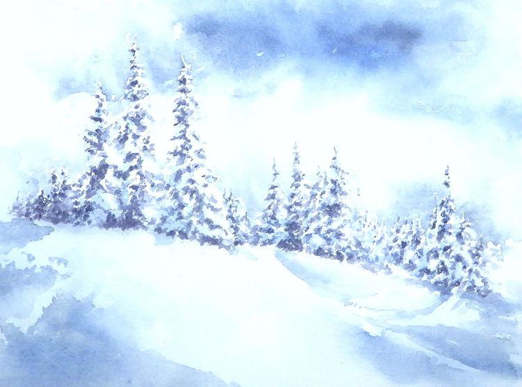 Schnee, Nadelbäume winterlandschaft, Aquarellmalerei, Schneebedeckt, Fichte, Winter