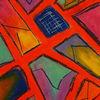Orange, Rot schwarz, Pastellmalerei, Lila